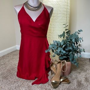 Roses are Red Spaghetti Strap Ruffle Wrap Dress
